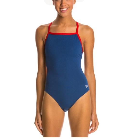 NWT Speedo Endurance Women s Blue Swimsuit 34 db3541e54
